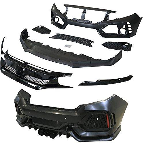 IKON MOTORSPORTS Bumper Coversion Kit Compatible With 2017-2020 Honda Civic Hatchback Rear Bumper Lip TR Black PP 10th Gen Air Dam Protection Boykits