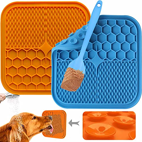Dog Licking Pad Mat,Connfiton [2 Pack] Slow Feeder for Dog,Dog Bath Distraction Device,Dog Boredom and Anxiety Reducer,Snuffle Mat for Dogs,Dog Puzzle Toys,for Bathing,Grooming and Training BPA-Free