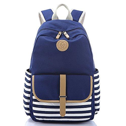 Rucksack Damen Schulranzen Mädchen Streifen Canvas Schulrucksack Reisetasche Casual Daypacks für Universität Outdoor Freizeit 44 x 35 x 16cm,Blau