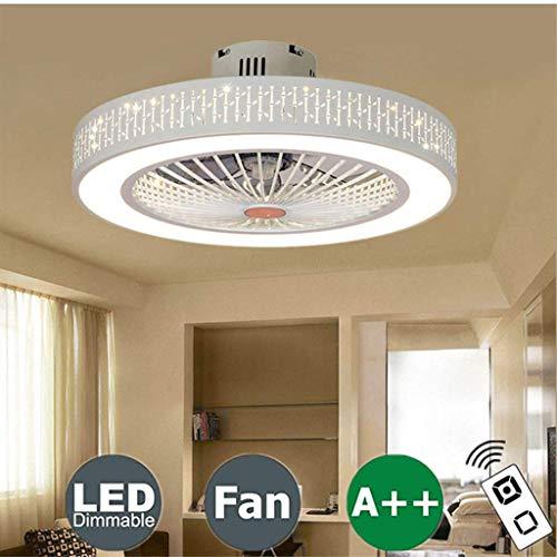 LKSS-ventilator Plafondlamp Creatieve moderne plafondlamp LED Dimbare plafondventilator met verlichting en afstandsbediening Stille kinderkamer Slaapkamerlamp Kantoor Restaurantverlichting,E,55CM