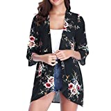 Leedy - Kimono de gasa para mujer, elegante, ligero, chaqueta de verano, manga 3/4, informal, para playa, bikini, para vacaciones 2019 Negro  M