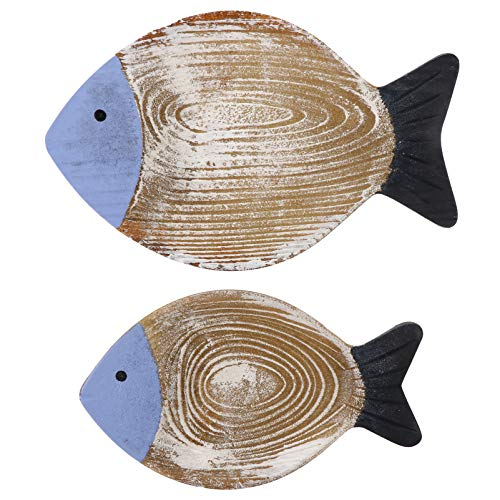 EXCEART 2pcs Wood Fish Decor Ornament Hanging Wooden Fish Decoration 3D Wall Hanging Fish Sculptures Nautical Decoration Rustic Nautical Fish Decor for Porch Living Room