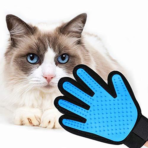YunNasi Haustier Grooming Handschuh Haarentfernung Massagehandschuh Fünf Finger Deshedding Handschuh mit Verstellbaren Manschetten Gummispitzen für Lange Kurze Pelzkatzen Hunde Kaninchen (Hellblau)