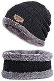 Zacharias Men's Woolen Cap with Neck Muffler/Neckwarmer Pack of 2 Black Free Size
