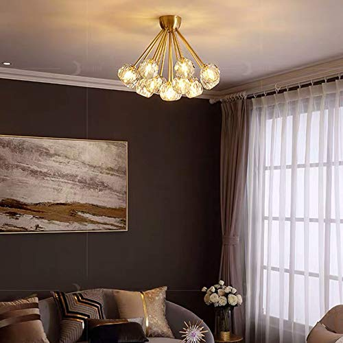 nakw88 Lámpara de Techo Copper Nórdico Sala de Estar Dormitorio Cristal Iluminación Iluminación Creativa Restaurante Luz Molecular Lámpara de araña Decoración