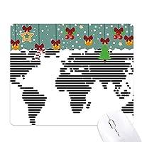単純な黒い線の世界地図のパターン ゲーム用スライドゴムのマウスパッドクリスマス