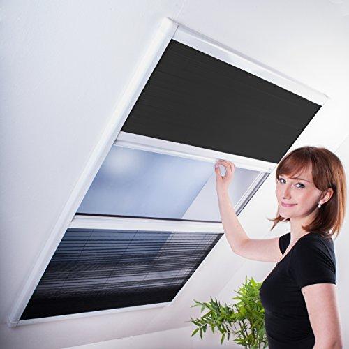 Kombi Dachfenster-Plissee - Sonnenschutz & Fliegengitter für Dachfenster 110 x 160 cm (für Fenster bis max. 100 x 154 cm) | weißer Rahmen