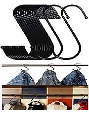 Stainless Steel S Shaped Hooks Hangers, Heavy Duty S Hooks, 20PCS Multipurpose Durable Utility S Hooks for Hanging Clothes Pot Utensils Tools Kitchen Bathroom Garden Bedroom Office