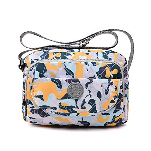 tuokener Cross body Bag Women Nylon Waterproof Womens Messenger Travel Bags Over the Shoulder bag Handbags with Multi-Pocket for Ladies and Girls (Camouflage)