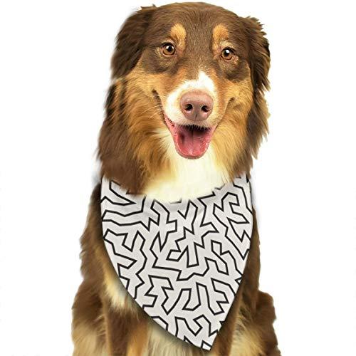 Onregelmatige doolhof dunne lijn naadloos zwart gepersonaliseerde hond kat Bandana driehoek slabbetjes sjaal huisdier geschikt voor kleine tot grote hond katten