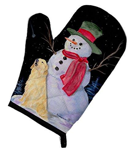 Caroline's Treasures SS8951OVMT Snowman with Golden Retriever Oven Mitt, Large, multicolor