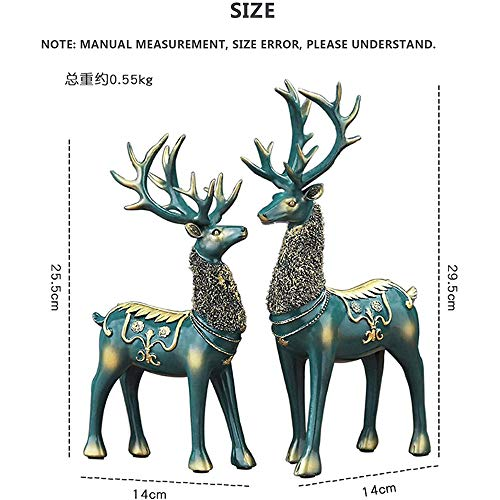 Warme Christmas Reindeer Figurines, 2 Pieces of Resin Sitting And Standing Deer Statue Decorations for Office Bedroom,Green
