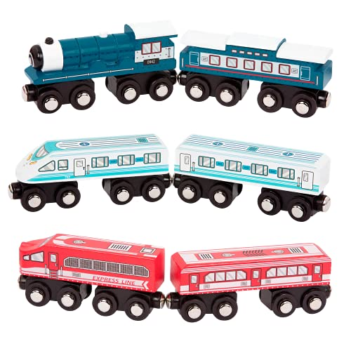 Battat – Wooden Passenger Trains – Classic & Compatible Wooden Toy Train Car Accessories for Kids & Collectors Aged 3 Years Old & Up - Compatible with Thomas Train - (6Pc)