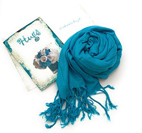 Smiling Wisdom - Hugs & More Hugs Greeting Card Gift Set - Peacock Pashmina Scarf - Old Fashioned Paisley Design Supportive Consoling Card - For Her, Friend, Woman - Grief, Bad Day, Disappointment, Sympathy - Blue