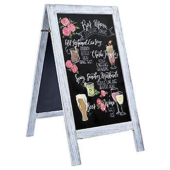 RHF Extra Large 40 x22  Chalkboard Sign Handcrated A Framed Chalk Board Sign,Sandwich Black Board,Rustic Wedding Signs,Chalkboard Easel,Sidewalk Sign,Double Sided Message Board,Free Standing,White