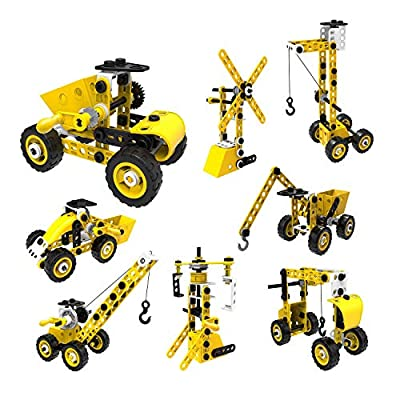 SZJJX STEM Building Toys, 100 PCS 8-in-1 Learning Construction Toys for 5 Year Old Boys, Erector Set Building Blocks Educational Toys for Kids 5-7, STEM Toys Gifts for 4 5 6 7 8 Year Old Boys Gilrs