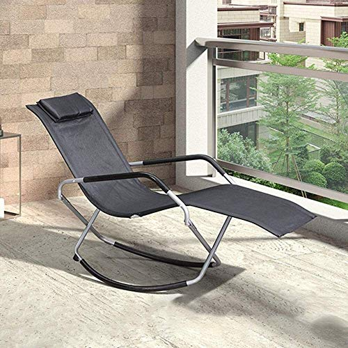 YYDD Porch Chairs, Folding Rocking Chair with Armrests and Backrest, Relaxing Recliner Chair for Living Room, Patio and Terrace (Color : Black)