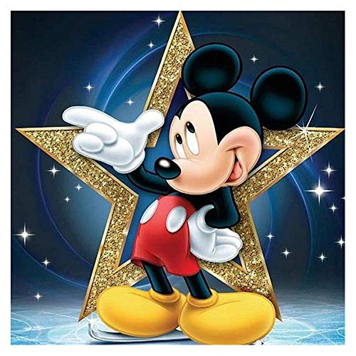 DIY 5D Diamond Painting Kits for Adults, 12'X12' Mickey Mouse Full Drill Diamond Painting Rhinestone Embroidery Pictures Cross Stitch Arts Crafts for Living Room Home Wall Decor