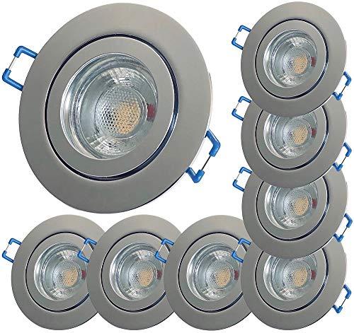 LED Bad Einbauleuchten 230V inkl. 8 x 5W LED Modul Farbe Chrom IP44 LED Einbauspots Neptun Rund 3000K Deckenleuchten