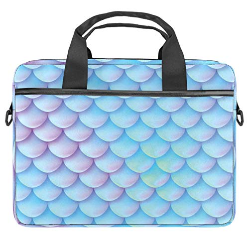 Laptop Bag Marine Mermaid Scales Pattern Notebook Sleeve with Handle 13.4-14.5 inches Carrying Shoulder Bag Briefcase