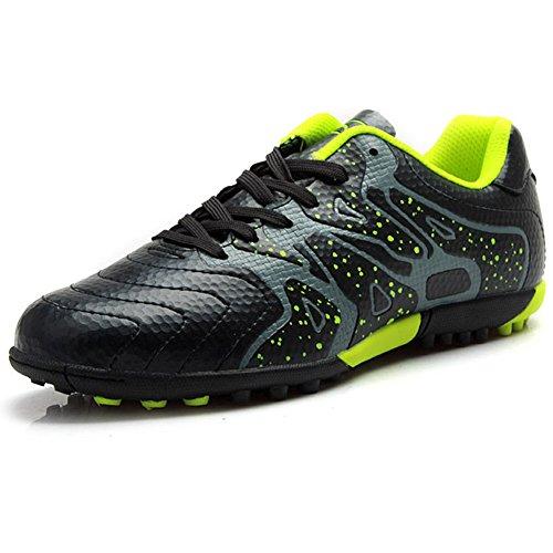 Tiebao Niños Difícil Suelo Artificial Velocidad PU Cuero Fútbol Zapatos (Negro, Niño pequeño EU37)