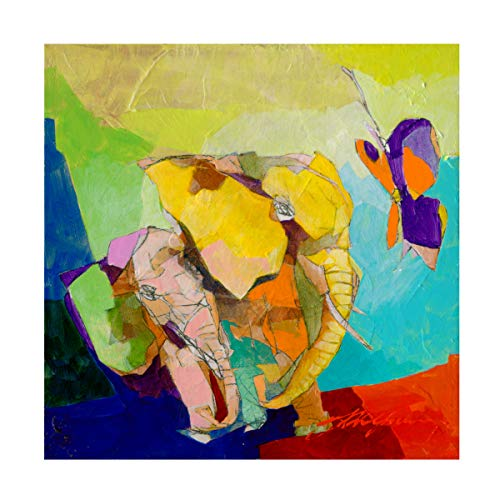 Trademark Fine Art Elephant and The Butterfly I by Yuval Wolfson, 14x14, Multiple