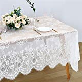 Rustic Vintage Lace Tablecloth 60x120 White Floral Table Cloths Baby Shower Chic Embroidered Rectangle Table Decorations