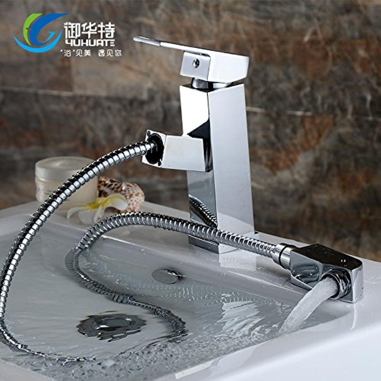 LaLF Europischer Wasserhahn Warmes und kaltes Becken Wasserhahn Pull-Typ Wasserhahn Warmes und kaltes Becken Wasserhahn Einlochmontage Waschbecken Spüle ziehen