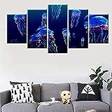 Flin HD Print Gemälde 5 Stück Unterwasser Bunte Quallen