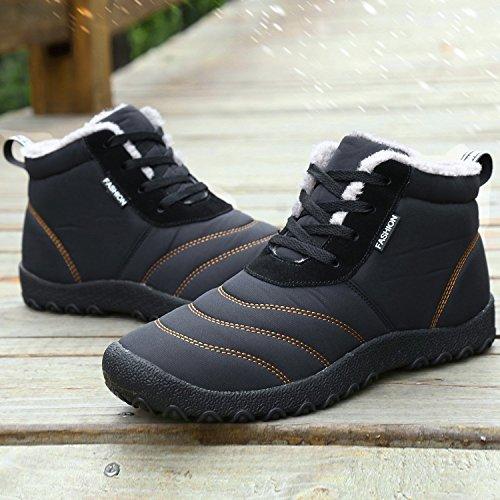 Dreamcity Men's Winter Snow Boots Waterproof Insulated Outdoor Shoes(Black,8)