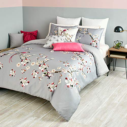 Ted Baker 2 Piece Comforter Set with Shams, Cotton, Grey Floral, Twin