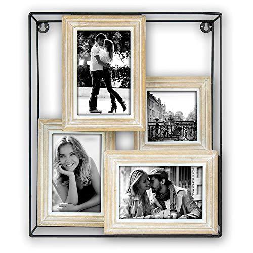 Matches21 fotolijst fotokast fotolijst wandrek plank collage hout metaal fotorek zwart natuur 4 fotos