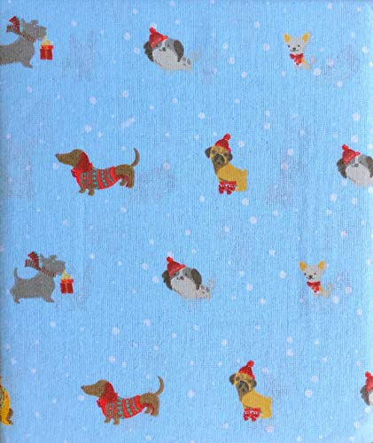 Nate & NAT Bedding 3 Piece Twin Size Bed Flannel Cotton Sheet Set Dogs Puppies Christmas Hats Sweaters on Sky Blue - Best in Snow