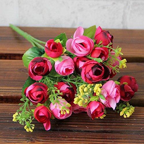 OSYARD Wohnaccessoires & Deko Kunstblumen,Künstliche Seiden-Blumen mit Stielen und Blättern,Pastoraler Stil Gefälschte Blumen,Hochzeit Home Party Garten Dekoration,DIY Blumenschmuck,21 Köpfe Sträuße