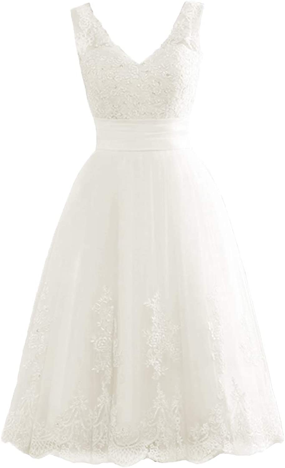 Cdress Short Wedding Dresses Lace Appliques Bridal Dress Beads Tulle VNeck Gowns for Bride