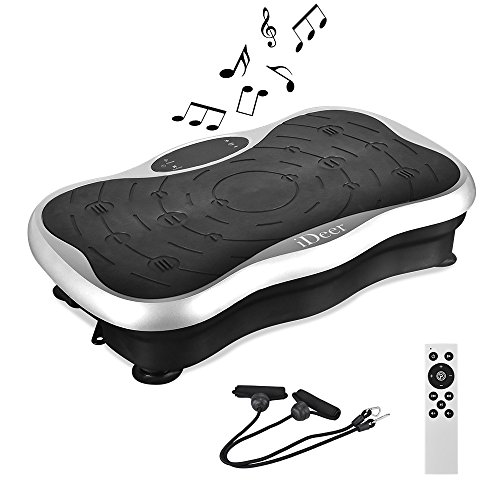 IDEER Vibration Platform Exercise Machines,Whole Body Vibration Plate,Fit Massage Vibration Platform Machine w/Remote&Bands for Body Workout Weight Loss&Toning.Max User Weight 330lbs (A Silver09009)