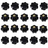 20 Unids M6 x 32mm pomos plastico, Rosca Hembra Tornillo de Rosca de Plástico Negro en Tipo Estrella Cabeza Perilla de Sujeción Perilla (M6 Forma de Estrella)