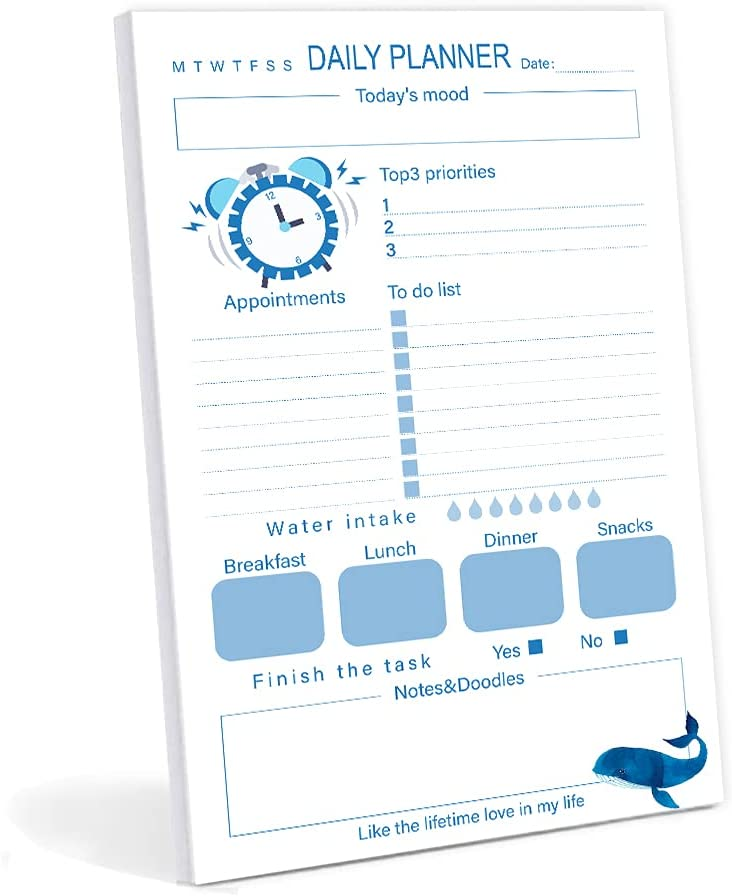 Daily To Do List Notepad 60 Tear-off Undated Pages Large discharge ...