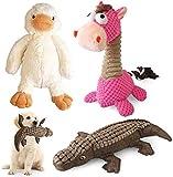 KONKY Juguetes para Perros - 3 Piezas Squeaky Toy Juguetes Duraderos para Cachorros Perro Pequeño Mediano, Chirriante Masticar Juguete de Entrenamiento, Pato, Caballo y Cocodrilo
