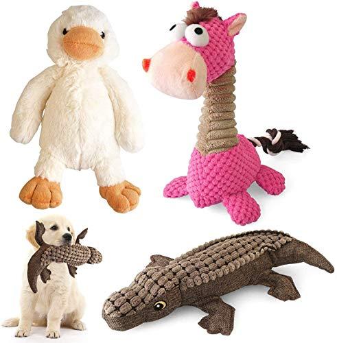 KONKY Juguetes para Perros - 3 Piezas Squeaky Toy Juguetes Duraderos para Cachorros Perro Pequeño Mediano  Chirriante Masticar Juguete de Entrenamiento  Pato  Caballo y Cocodrilo