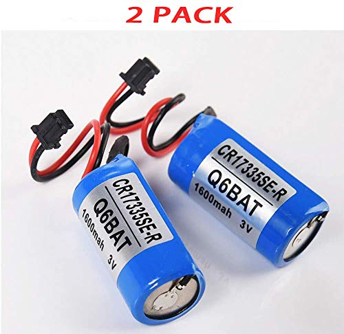 YCD PLC 3V 1600mah Replacement Battery with Plug,Compatible with Mitsubishi CR17335SE-R Q6BAT Q12HCPU. (2 Pack)