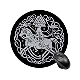 Odin Norse Viking Symbols Round Mouse pad Non-Slip Rubber Gaming Mouse pad Waterproof Office Mouse pad