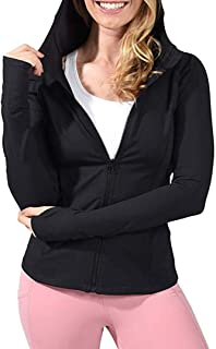 Women's Yoga Jacket Bodyfit Workout Hoodie Jacket Long Sleeved Running &Track Jacket with Thumb Holes