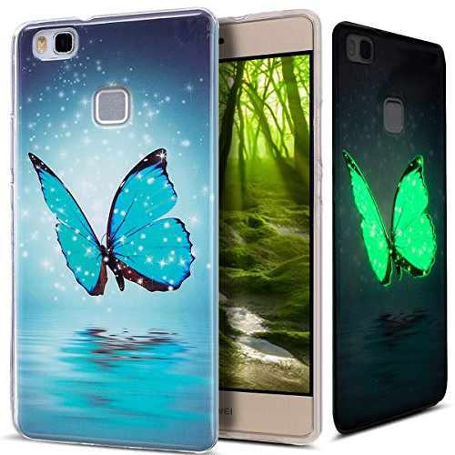 Kompatibel mit Huawei P9 Lite Hülle,Huawei P9 Lite Schutzhülle,Bunte Gemalt [Leuchtend Luminous] Handyhülle TPU Silikon Hülle Handy Hülle Hülle Tasche Schutzhülle für Huawei P9 Lite,Blau Schmetterling