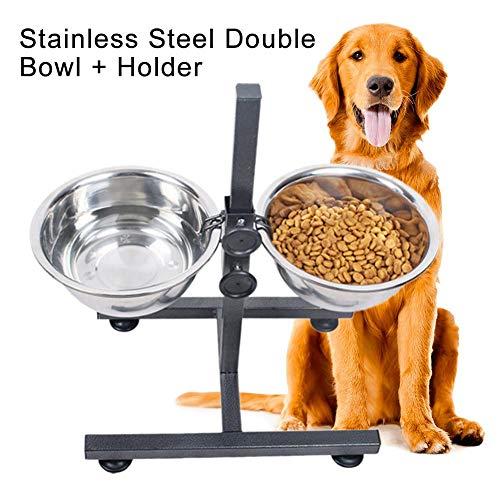 LIZONGFQ Höhenverstellbarer Futterhalter für Haustiere mit Zwei Edelstahlschalen Futter Wasserschale Hundekatzen Fütterungsgeschirr Tierbedarf