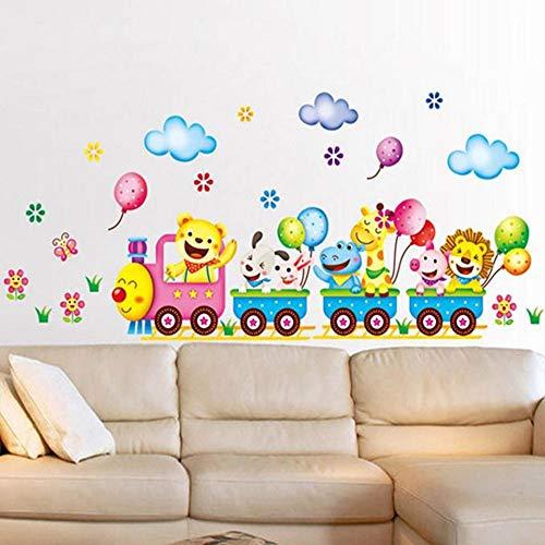 Globo etiqueta de la pared de dibujos animados de animales de tren...