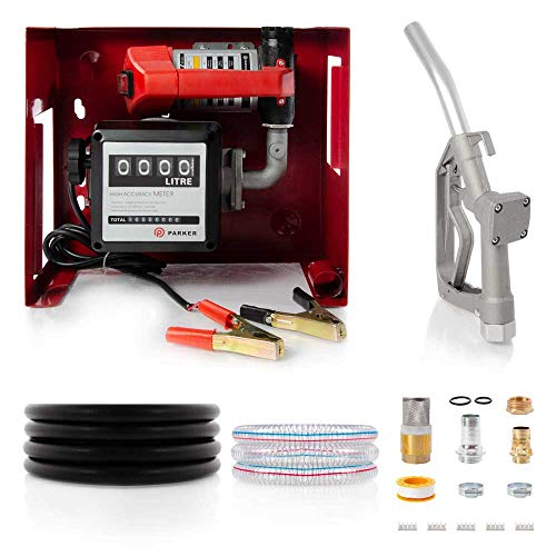 ParkerBrand 12V Wall Mounted Diesel Transfer Fuel Pump Kit 12V - With Fuel...