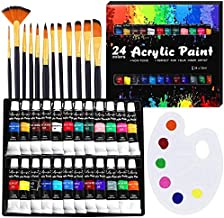 Acrylic Paint Set, YAXJUN Professional Painting Supplies Set Includes 24 Acrylic Paints, 12 Painting Brushes & Paint Palette, Non Fading Paint kits for Artists,Adults,Beginners