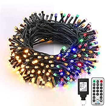 Brizled Christmas Lights 65.67ft 200 LED Color Changing Tree Lights 11-Function Warm White & Multi Color Christmas Lights Connectable 24V Safe Adapter Remote Decorative Lights String for Xmas Party