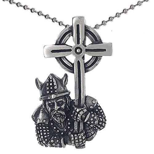 Viking Barbarian Warrior Templar Knight Gladiator holding Celtic Cross Sun Solar Wheel Pewter Men's Pendant Necklace Protection Amulet Wealth Money Lucky Charm Safe Travel Talisman w Silver Ball Chain